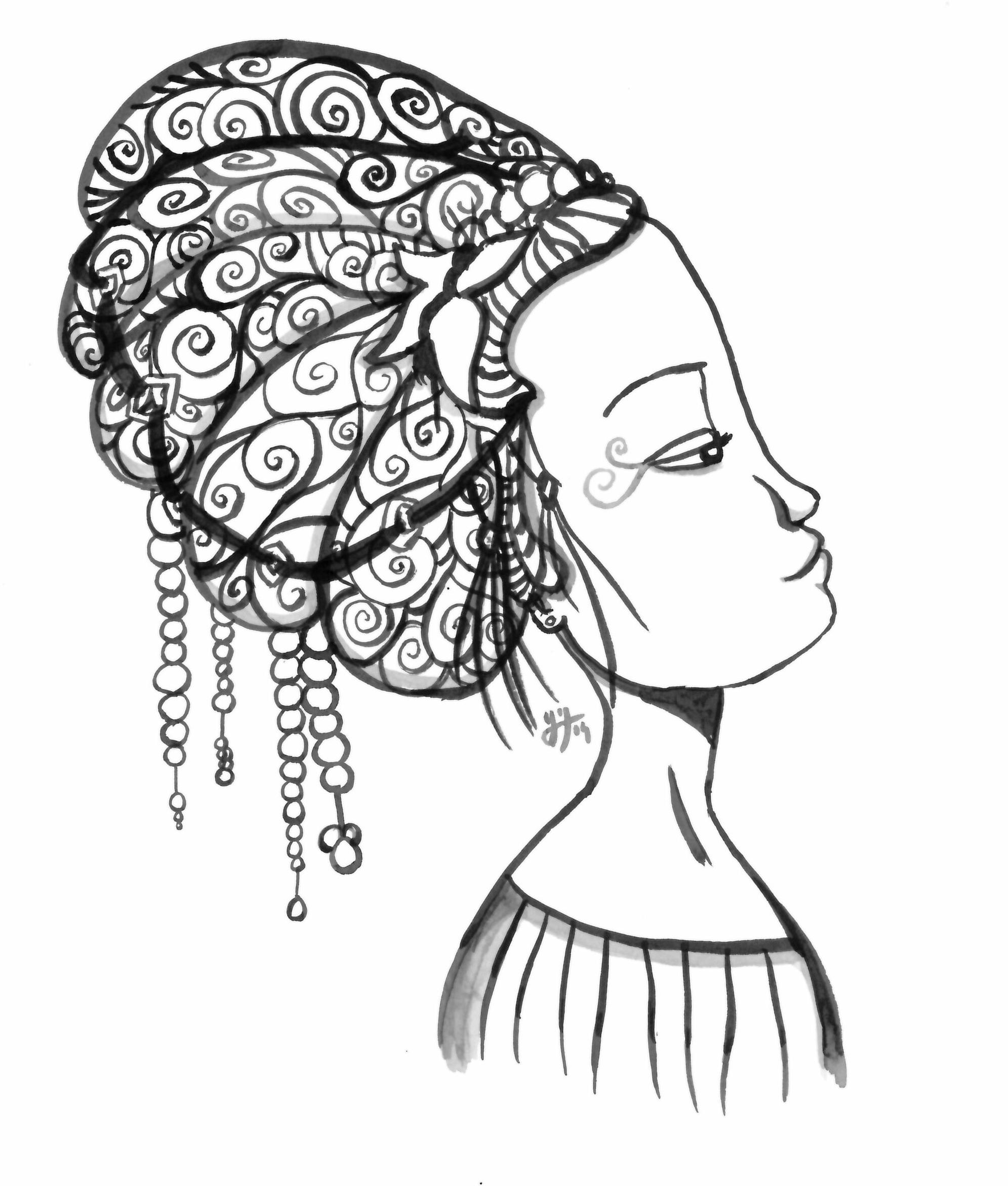 Le principe : dessiner un portrait directement au pinceau. J'ai utilisé, bha, un pinceau, et de l'encre de Chine.