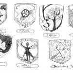 Les Blasons (non définitifs) des différents peuples qui existent en Eyridian